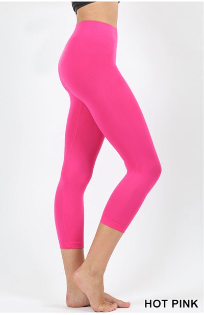 LEG-1 {Simple & Easy} Hot Pink Nylon/Spandex Capri Leggings