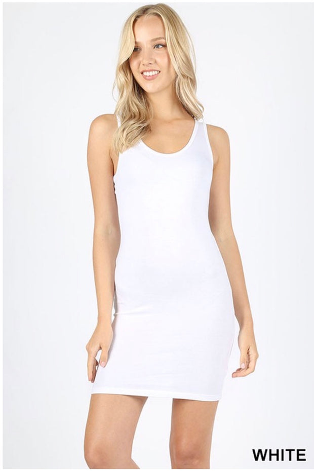 Tank {Take A Look} White Racerback Tank Top (Long) SALE!!