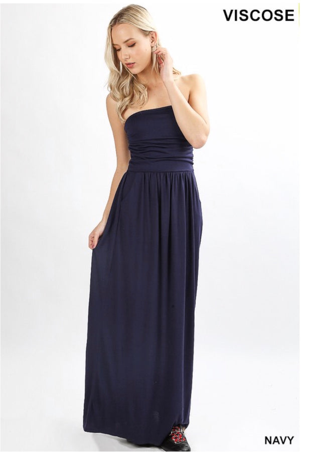 LD-G {Hot Summer Nights} Navy Strapless Maxi W/ Pockets