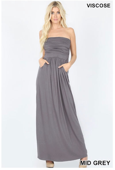LD-F {Hot Summer Nights} Gray Strapless Maxi W/ Pockets