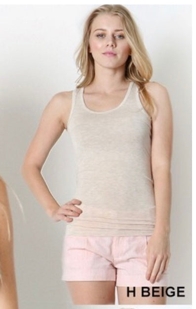 Tank {Right Where you Are} Beige Racerback Tank Top