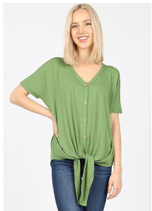 SSS-F {Taking It Easy} Green Button-Up Top W/ Tie Detail