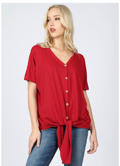 SSS-E {Taking It Easy} Red Button-Up Top W/ Tie Detail