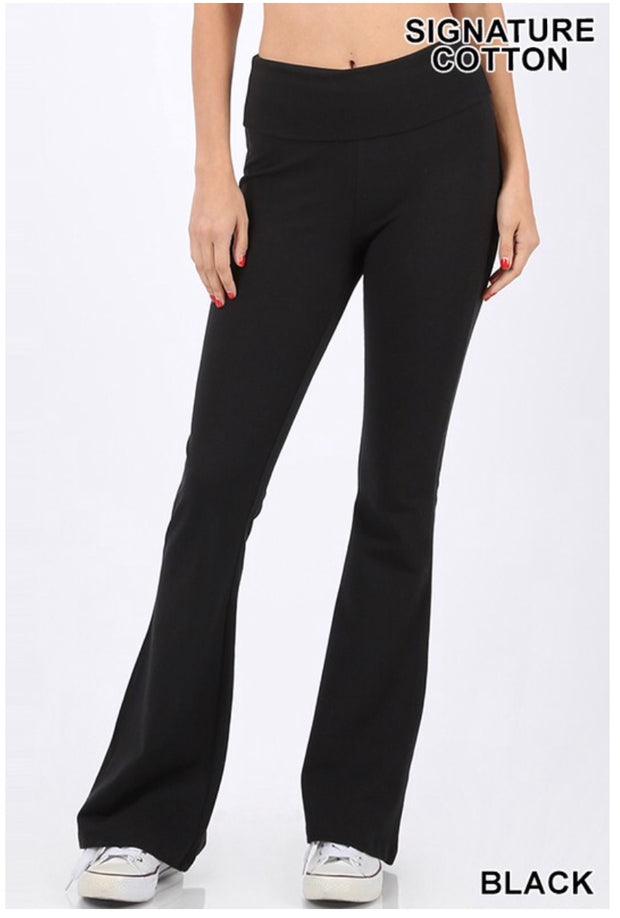 BT-C {Off The Grid} Black Fold Over High Waist Yoga Pants