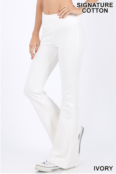 BT-M {Off The Grid} Ivory Fold Over High Waist Yoga Pants