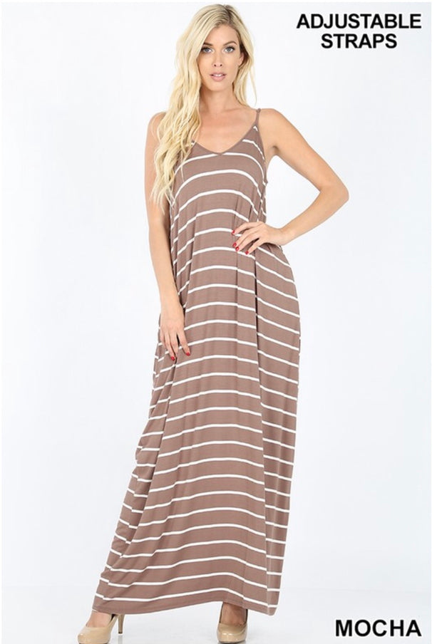 LD-M {New Groove} Mocha/Ivory Striped Maxi Dress