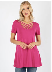 SSS-P {Simply Awesome} Magenta Top with Cage Neck Detail