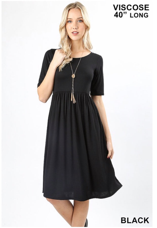 SQ-O {Take My Hand} Black Dress W/ Quarter Sleeves & Pockets