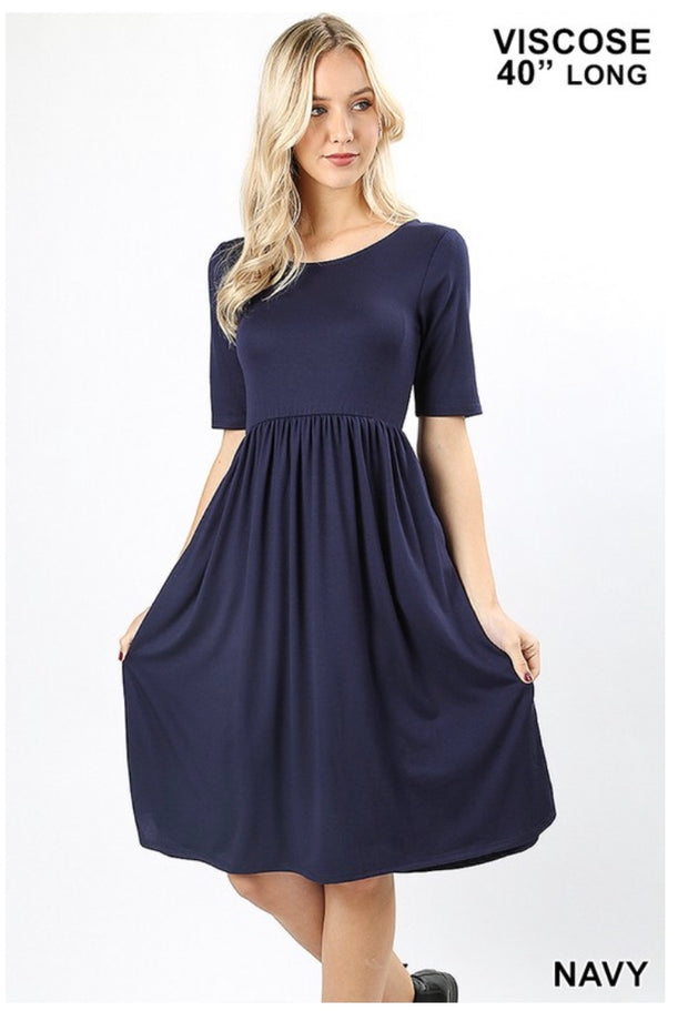 SQ-Q {Take My Hand} Navy Dress W/ Quarter Sleeves & Pockets