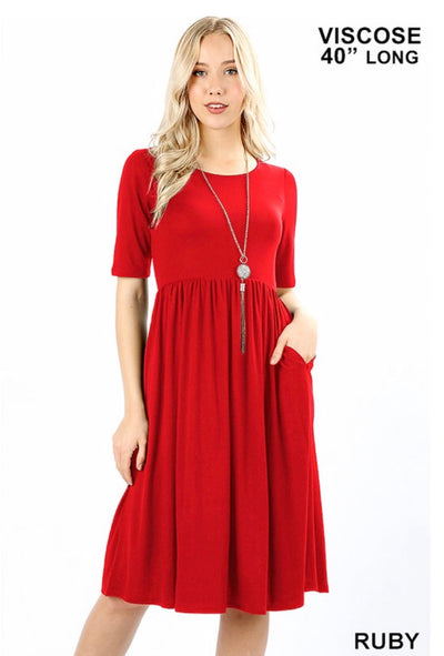 SQ-P {Take My Hand} Ruby Dress W/ Quarter Sleeves & Pockets
