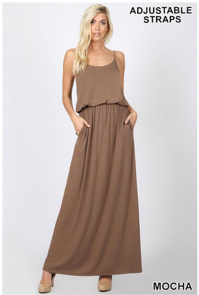 LD-L {Sweet Delight} Mocha Maxi Dress Yoke Detail W/ Pockets