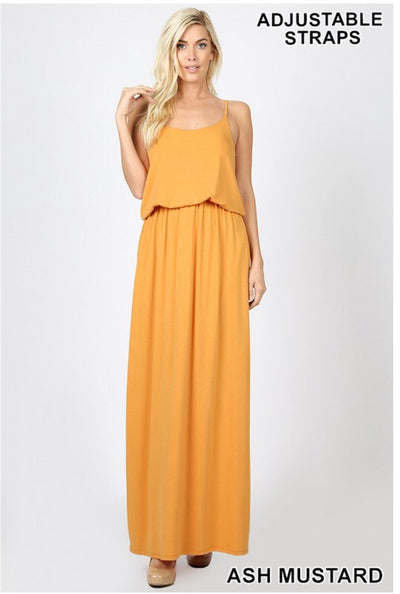 LD-P {Sweet Delight} Ash Mustard Maxi Dress Yoke Detail W/ Pockets