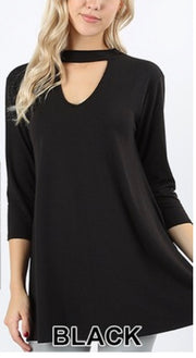 SQ-P {Take The Risk} Black Mock Neck Top with 3/4 Sleeves