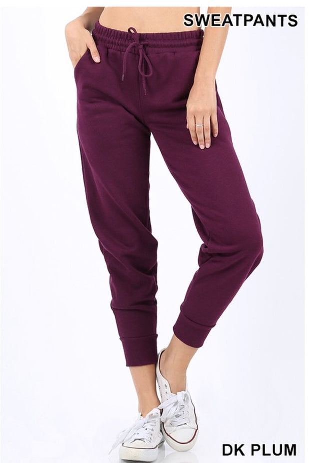 BT-A {Word On The Street} Plum Jogger Pants W/ Drawstring