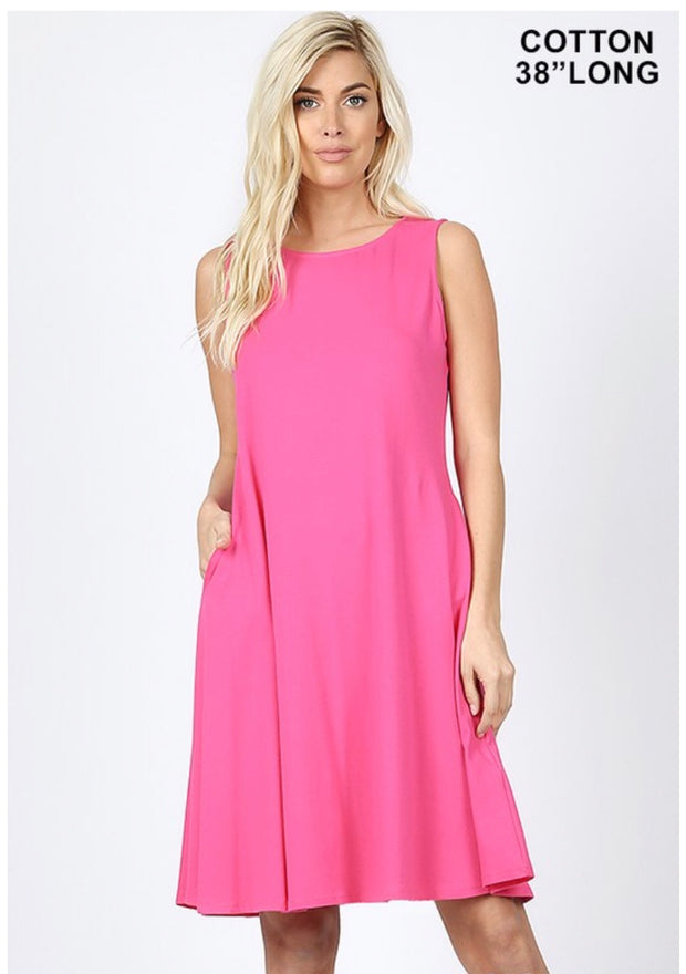 SV- B {How Can It Be} Fuchsia Bottom Flare Dress W/ Pockets SALE!!
