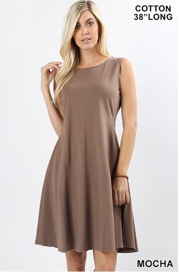 SV-N {How Can It Be} Mocha Bottom Flare Dress W/ Pockets
