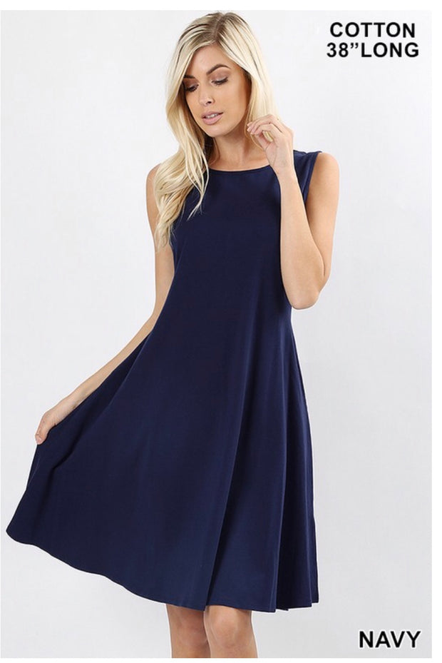 SV-M {How Can It Be} Navy Bottom Flare Dress W/ Pockets SALE!!