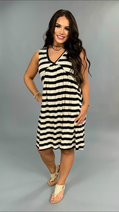 SV-B Black/Oatmeal Striped V-Neck Dress with Side Pockets