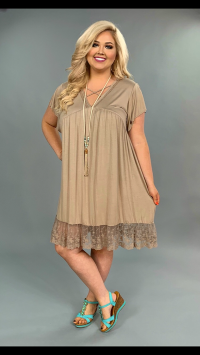 SSS-B {Love Her}  Mocha Criss Cross Lace Hem Dress SALE!!