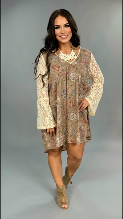 CP-T {Stay Sweet} Bohemian Floral Dress Lace Sleeves