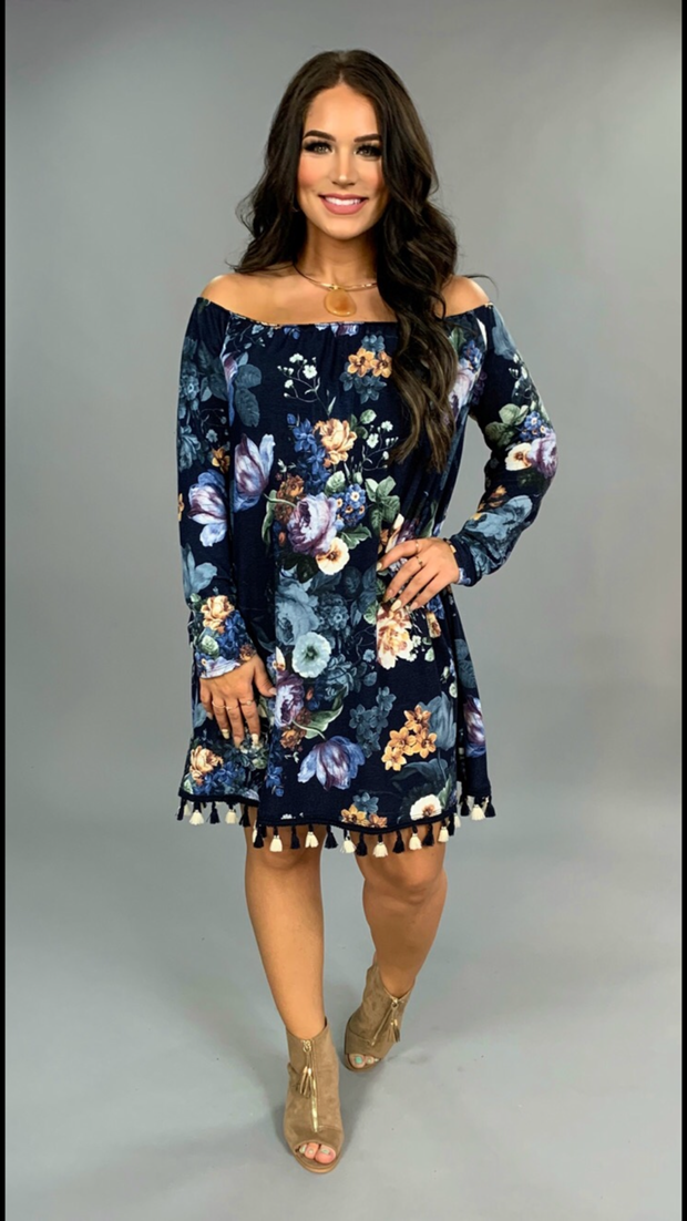 PQ-Q {Nice Audition} Navy Floral Dress with Tassel Hem