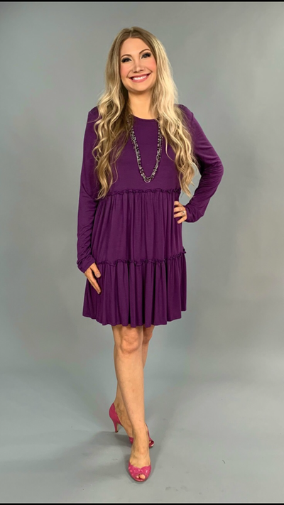 "SLS-W ""Bellamie"" Violet with Tiny Double Ruffle Detailing Tunic"