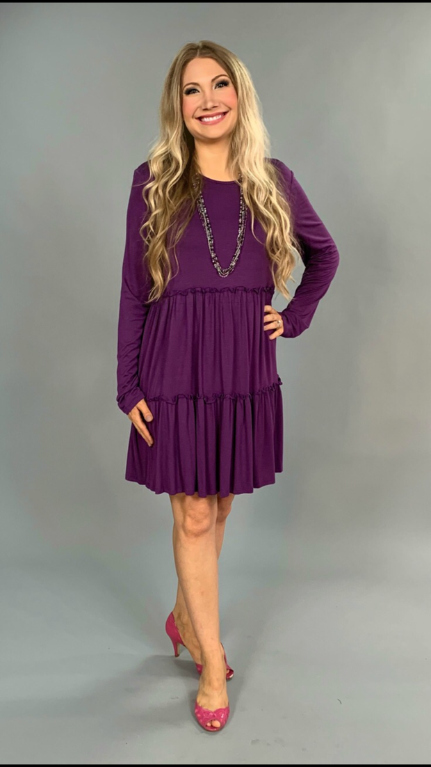 SLS-W {Watch Out} Violet Dress Tiny Double Ruffle Detail