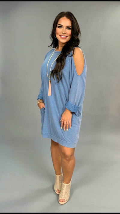 "OS-i ""UMGEE"" Blue Mineral Washed Tunic with Cutout Sleeve"