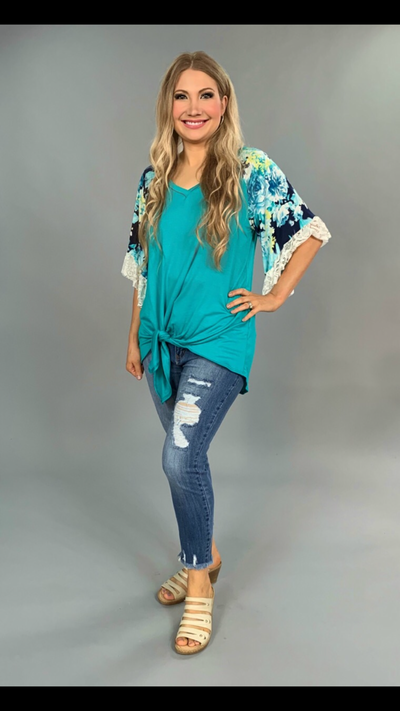 CP-O {Eternal Princess} Teal Front Tie Top with Floral Lace Sleeves