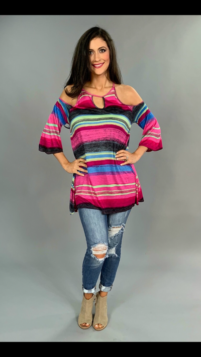 OS-W {Girl Talk} Pink/Multi  V-Cut Open Shoulder Tunic