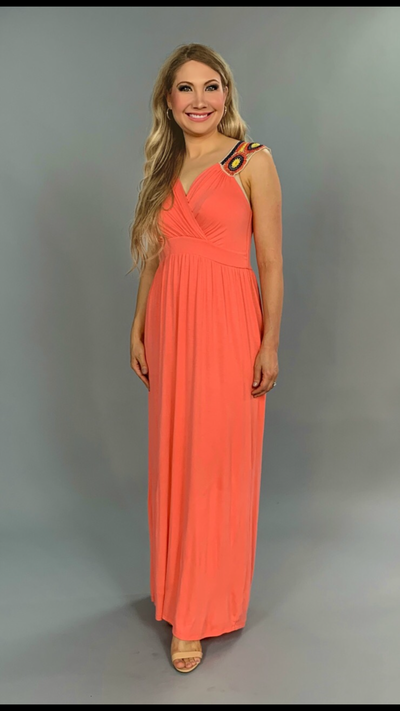 LD-A {This Is The Life} Coral Maxi Dress with Crochet Detail