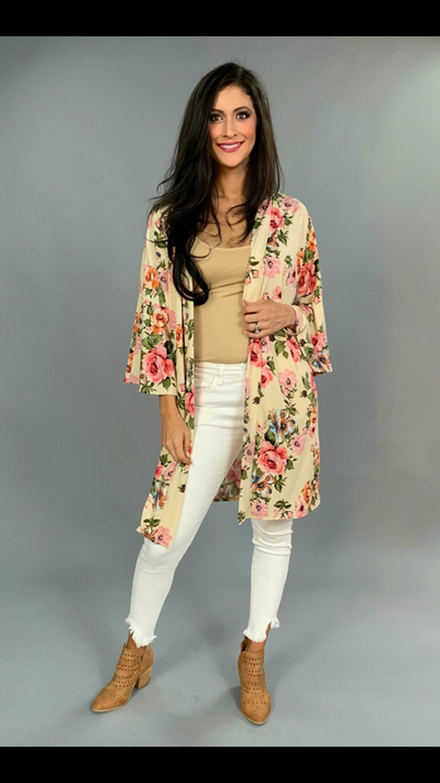 "OT-C ""On The Road Again"" Floral Cardigan with Bell Sleeves"