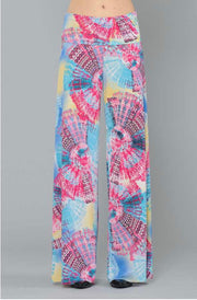 BT-S {Have Your Fun} Blue/Pink Geo-Print Palazzo Pants