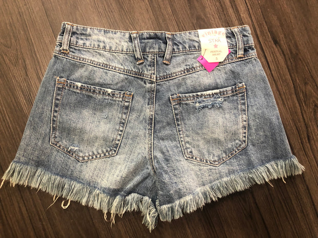 BT-A {Bad Habit} Denim Distressed Shorts with Fringed Hem