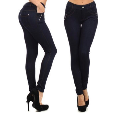 BT-V Denim Jeggings with Rhinestone Buttons