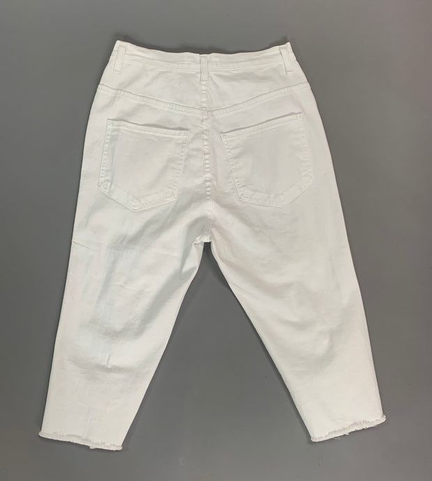 "BT-S ""Aphrodite"" Ripped Denim Capri White Jeans"