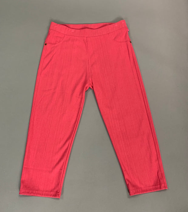 "BT-O ""New Mix"" Coral Capri Stretchy Jeggings With Pockets"