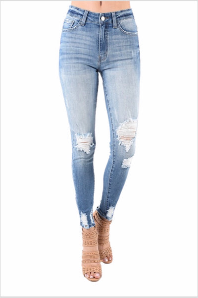 BT-A {Doing My Thing} Distressed Denim Jeans