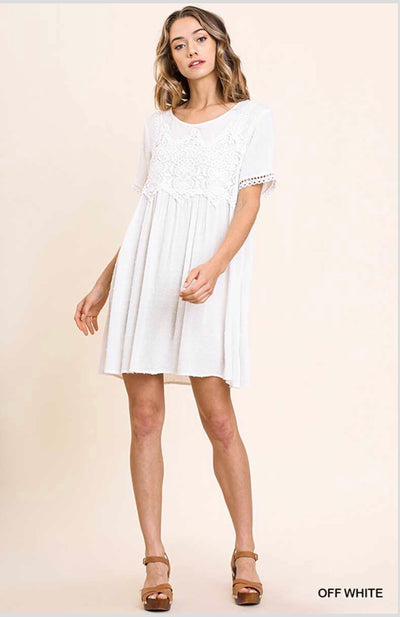 "SSS-A {Fancy That} ""UMGEE"" White Tunic with Crochet Detail"