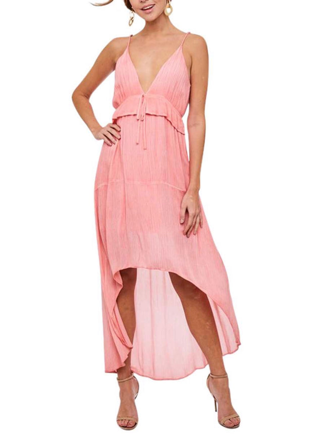 LD-C {Glamour Mode} Coral Pink Hi-Lo Dress with Lining