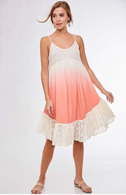 SV-D {A Perfect Passion} Lined Coral Dress w/ Lace Detail