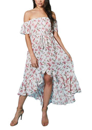 LD-C {Dearest Darling} Floral Print Hi-Lo Dress Ruffle Detail