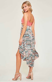LD-B {Feel The Vibe} Coral/Multi Hi-Lo Dress Zip Side