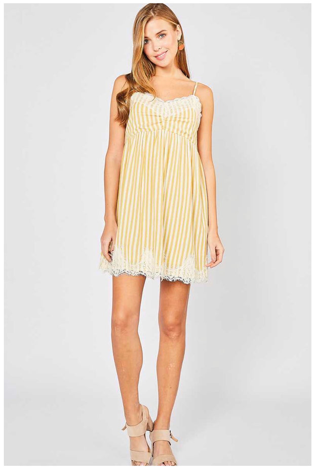 SV-B {Thirsty For More} Striped Lined Dress with Lace Detail