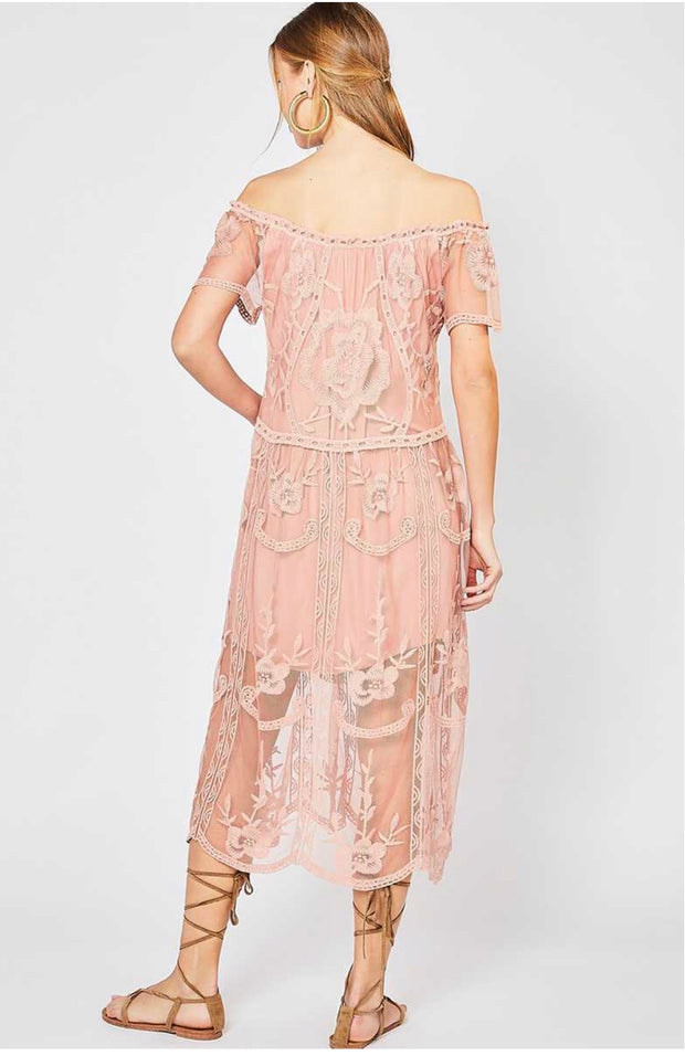 OS-A {Looking Suave} Mauve Lace Detailed Dress w/Lining SALE!!