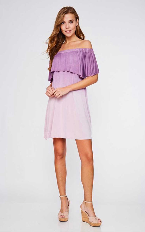 OS-A {Rumor Has It} Off-Shoulder Gradient Lavender Dress SALE!!