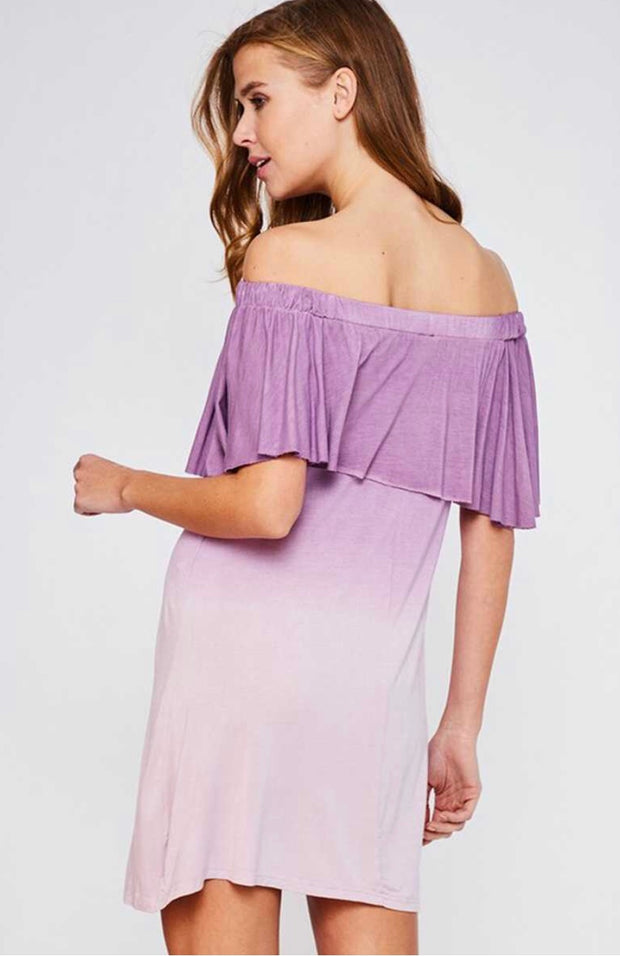 OS-A {Rumor Has It} Off-Shoulder Gradient Lavender Dress