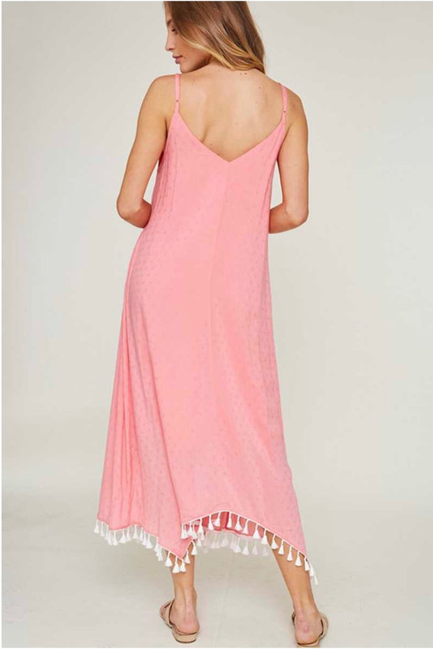 LD-C {Days Gone By} Pink Lined Dress with White Tassel Hem SALE!!