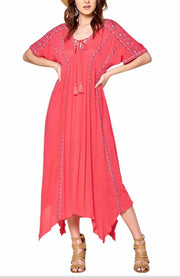LD-A {Charmed Life} Coral Dress with Embroidery Detail