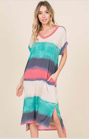 LD-B {Evening Stroll} V-Neck Gradient Dye Long Dress